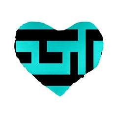Black And Teal Standard 16  Premium Flano Heart Shape Cushions by timelessartoncanvas