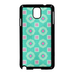 Pink Flowers And Other Shapes Pattern  samsung Galaxy Note 3 Neo Hardshell Case (black) by LalyLauraFLM