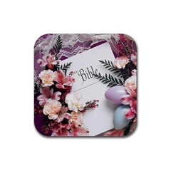 White Holy Bible Spring Flowers Christian Religious Rubber Square Coaster (4 pack) from DesignMonaco.com Front