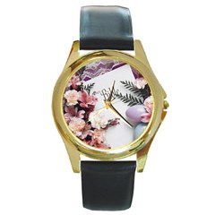 White Holy Bible Spring Flowers Christian Religious Round Gold Metal Watch from DesignMonaco.com Front