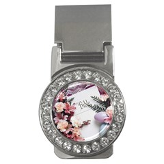 White Holy Bible Spring Flowers Christian Religious Money Clip (CZ) from DesignMonaco.com Front