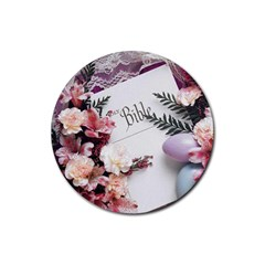 White Holy Bible Spring Flowers Christian Religious Rubber Round Coaster (4 pack) from DesignMonaco.com Front