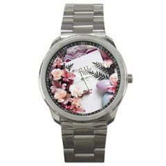 White Holy Bible Spring Flowers Christian Religious Sport Metal Watch from DesignMonaco.com Front