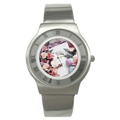 White Holy Bible Spring Flowers Christian Religious Stainless Steel Watch from DesignMonaco.com Front