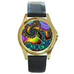 Lucy in the Sky With Diamonds Fractal Round Gold Metal Watch