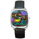 Lucy in the Sky With Diamonds Fractal Square Metal Watch