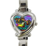 Lucy in the Sky With Diamonds Fractal Heart Italian Charm Watch