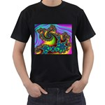 Lucy in the Sky With Diamonds Fractal Black T-Shirt