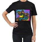 Lucy in the Sky With Diamonds Fractal Women s Black T-Shirt