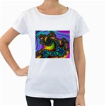 Lucy in the Sky With Diamonds Fractal Maternity White T-Shirt