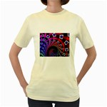 Groovy 60s Shag Fractal Women s Yellow T-Shirt