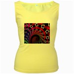 Groovy 60s Shag Fractal Women s Yellow Tank Top
