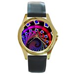 Groovy 60s Shag Fractal Round Gold Metal Watch