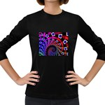 Groovy 60s Shag Fractal Women s Long Sleeve Dark T-Shirt