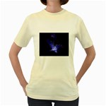 Gothic Blue Psychosis Fractal Women s Yellow T-Shirt