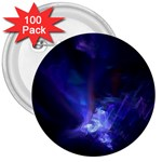 Gothic Blue Psychosis Fractal 3  Button (100 pack)