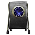 Gothic Blue Psychosis Fractal Pen Holder Desk Clock