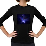 Gothic Blue Psychosis Fractal Women s Long Sleeve Dark T-Shirt