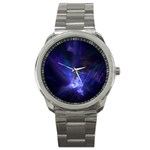 Gothic Blue Psychosis Fractal Sport Metal Watch