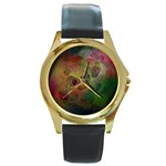Gothic Swiss Cheese Fractal Fantasy Round Gold Metal Watch