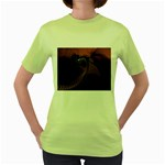 Dark Interplanetary Rebirth Fractal Women s Green T-Shirt
