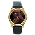 Dark Interplanetary Rebirth Fractal Round Gold Metal Watch