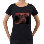 Dark Interplanetary Rebirth Fractal Maternity Black T-Shirt