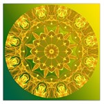 Yellow Green Abstract Wheel Of Fire Large Satin Scarf (Square)