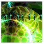 Dawn Of Time, Abstract Lime & Gold Emerge Large Satin Scarf (Square)