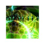 Dawn Of Time, Abstract Lime & Gold Emerge Small Satin Scarf (Square)