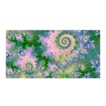 Rose Apple Green Dreams, Abstract Water Garden Satin Wrap