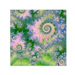 Rose Apple Green Dreams, Abstract Water Garden Small Satin Scarf (Square)