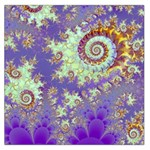 Sea Shell Spiral, Abstract Violet Cyan Stars Large Satin Scarf (Square)