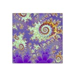 Sea Shell Spiral, Abstract Violet Cyan Stars Satin Bandana Scarf