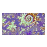 Sea Shell Spiral, Abstract Violet Cyan Stars Satin Shawl