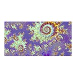 Sea Shell Spiral, Abstract Violet Cyan Stars Satin Wrap