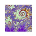 Sea Shell Spiral, Abstract Violet Cyan Stars Small Satin Scarf (Square)