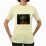 Gothic Dark Forest with Night Fog Women s Yellow T-Shirt