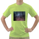 Gothic Dark Forest with Night Fog Green T-Shirt