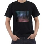 Gothic Dark Forest with Night Fog Black T-Shirt
