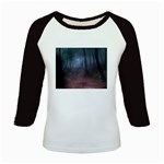 Gothic Dark Forest with Night Fog Kids Baseball Jersey