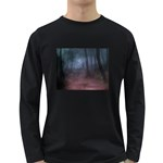 Gothic Dark Forest with Night Fog Long Sleeve Dark T-Shirt