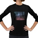 Gothic Dark Forest with Night Fog Women s Long Sleeve Dark T-Shirt