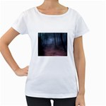 Gothic Dark Forest with Night Fog Maternity White T-Shirt