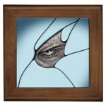 Goth Demon Snake Eye Breaking Through Framed Tile