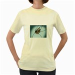 Goth Demon Snake Eye Breaking Through Women s Yellow T-Shirt