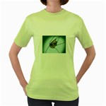 Goth Demon Snake Eye Breaking Through Women s Green T-Shirt