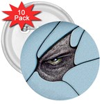 Goth Demon Snake Eye Breaking Through 3  Button (10 pack)