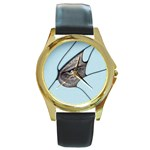 Goth Demon Snake Eye Breaking Through Round Gold Metal Watch