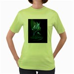 Gothic Blue Ice Crystal Palace Fantasy Women s Green T-Shirt